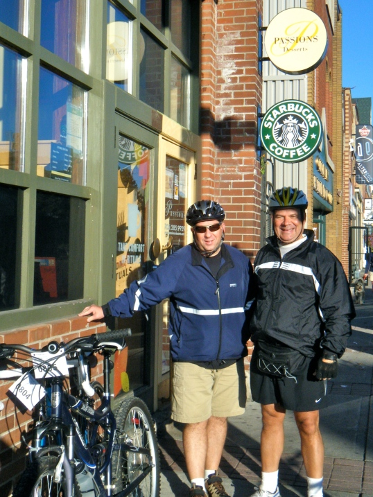 Drew and Mike outside of Starbucks in Streetsville